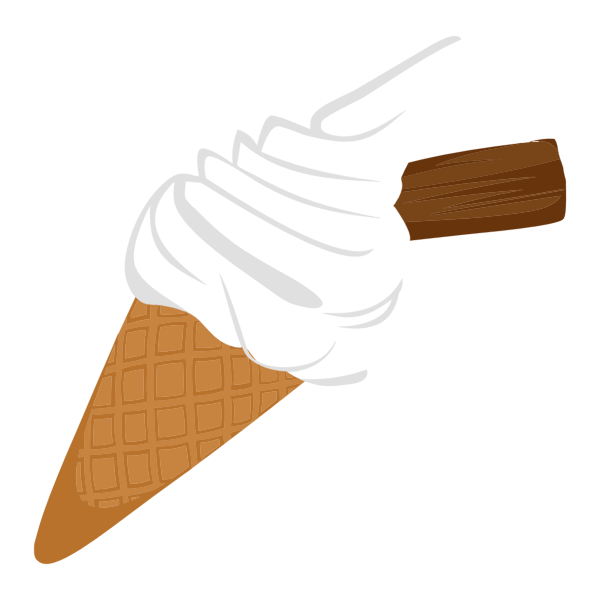 Ice cream cone with chocolate biscuit vector graphics