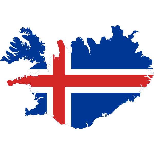 Iceland map with flag over it vector image
