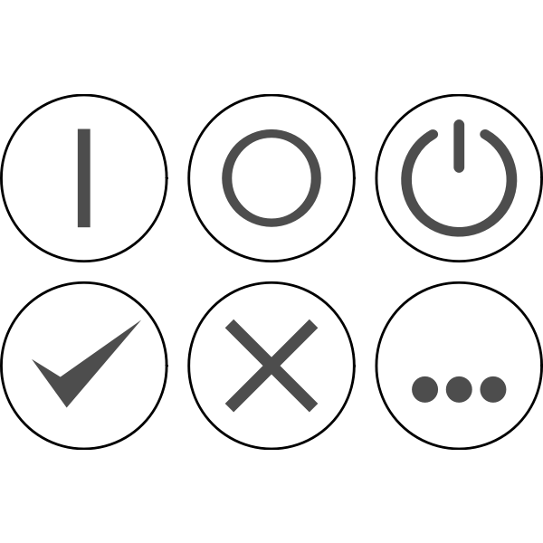 Vector illustration of monochrome selection of power icons