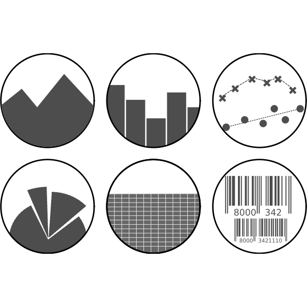 Vector image of grayscale spreadsheet icons set