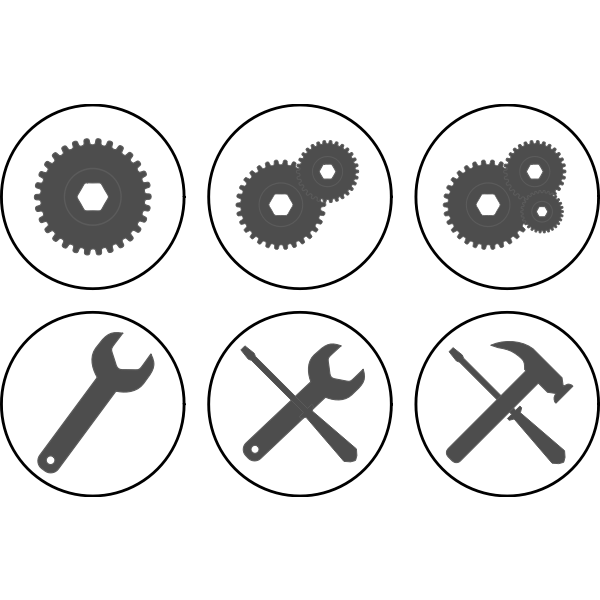 Vector clip art of monochrome set of settings buttons