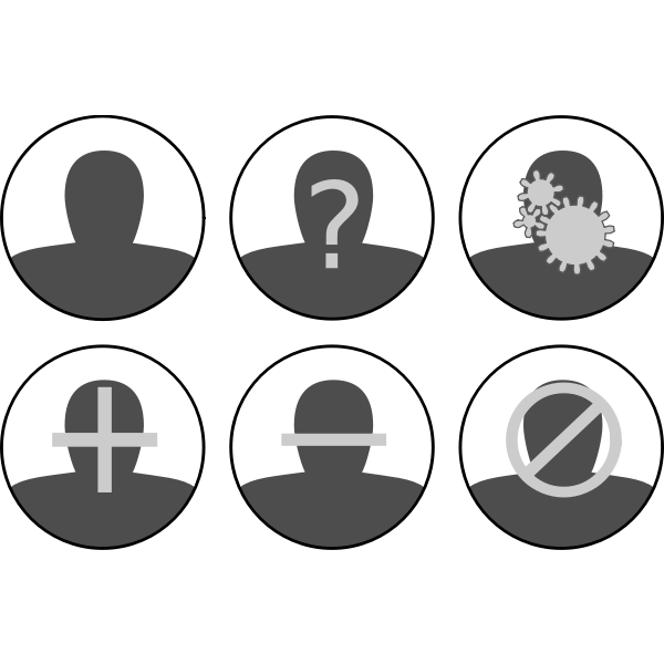 Vector graphics of grayscale set of user management icons