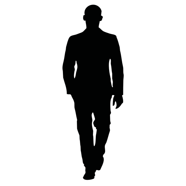 Bald man walking in a suit silhouette vector image