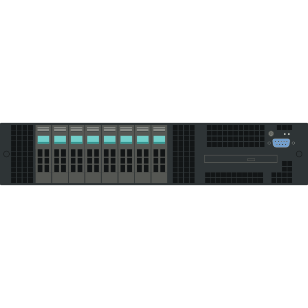Intel 2U rack server vector clip art