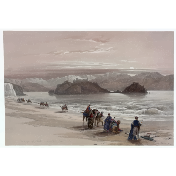 Arabic expedition on sea coast