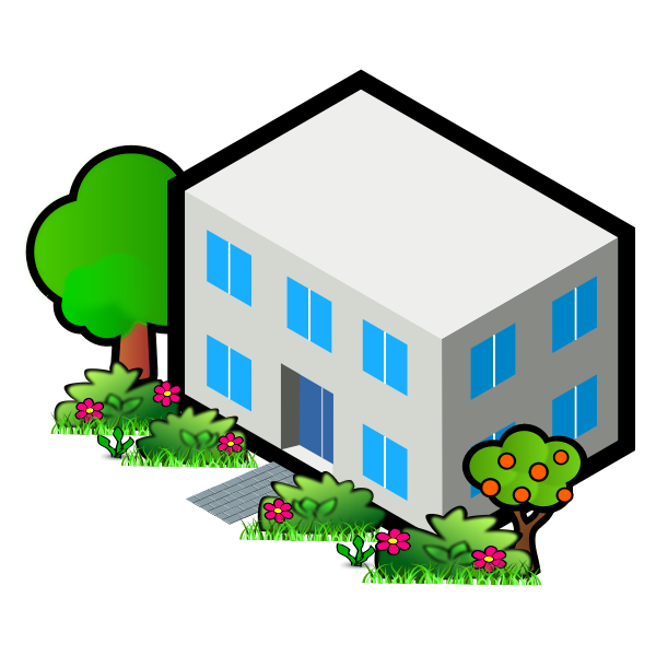 Vector image of flat roof house