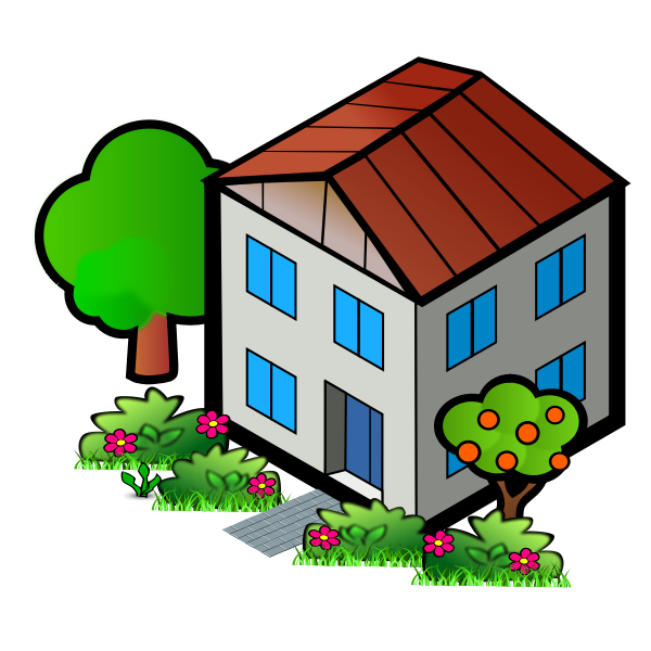 Vector drawing of family home with trees