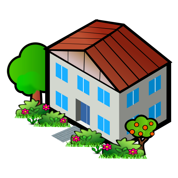 Vector graphics of house among trees
