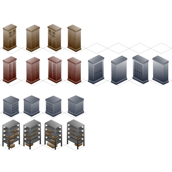 Metal shelves vector drawing