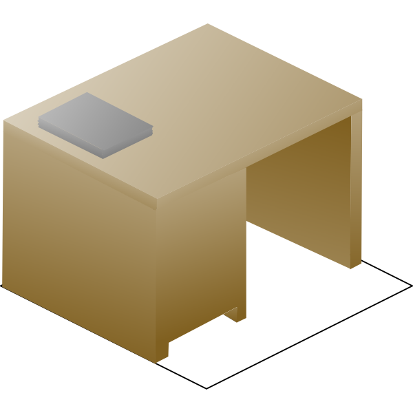 Vector image of isometric desk left back view