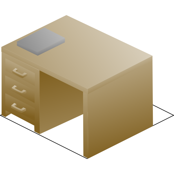 Vector drawing of isometric desk right front view