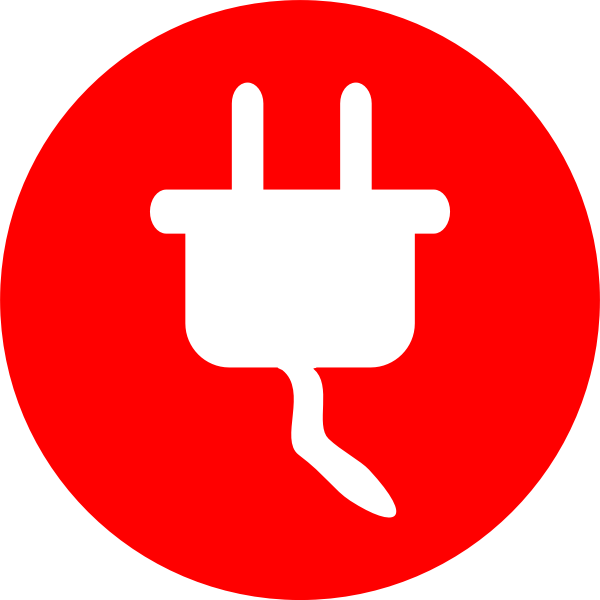 Power plug and cable vector symbol