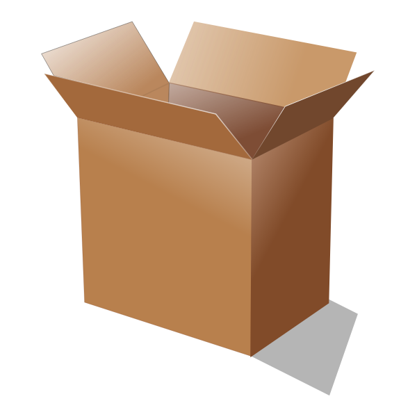 Vector illustration of open cardboard box