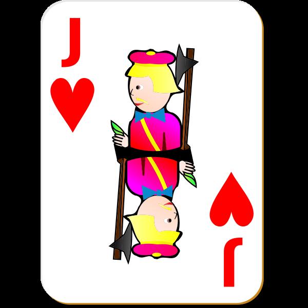 Jack of Hearts gaming card vector drawing