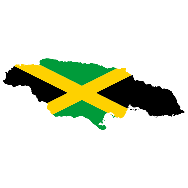 Jamaica's map with flag