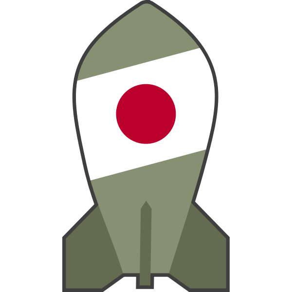 Vector drawing of hypothetical Japanese nuclear bomb