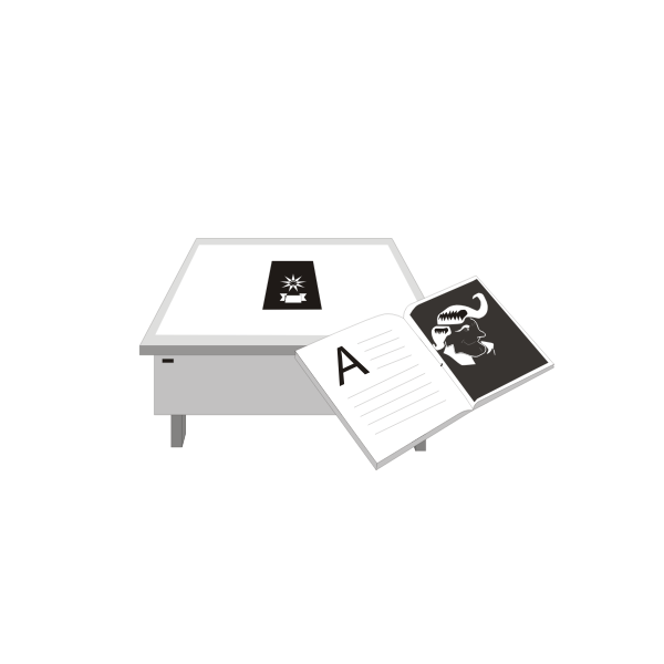 Desk and book next to it vector graphics