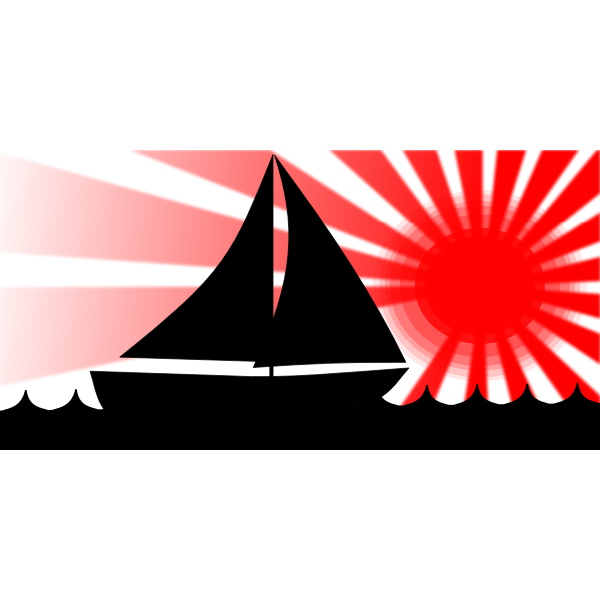 Sailboat Under Red Sun Vector