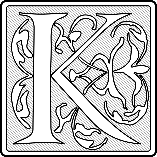 Vector graphics if light letter K calligraphy