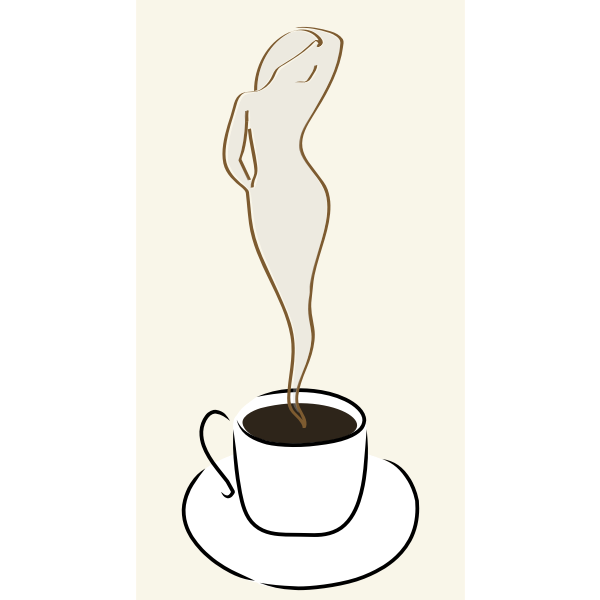Vector clip art of woman in a coffee cup