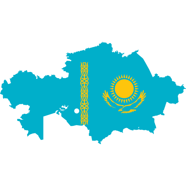 Kazakhstan flag and map