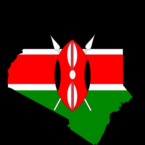 Kenya map flag vector clip art