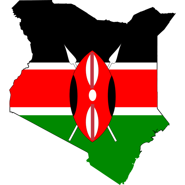 Kenya map and flag