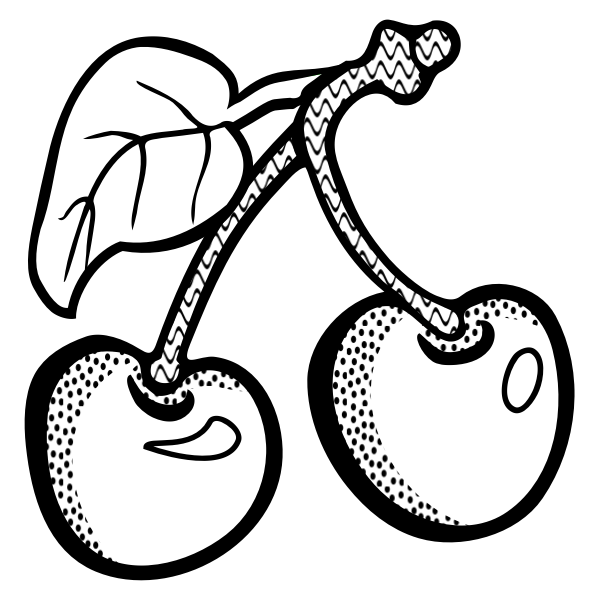 Vector graphics of two cherries in black and white
