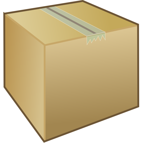 A cardboard packing box with tape holding it shut vector image