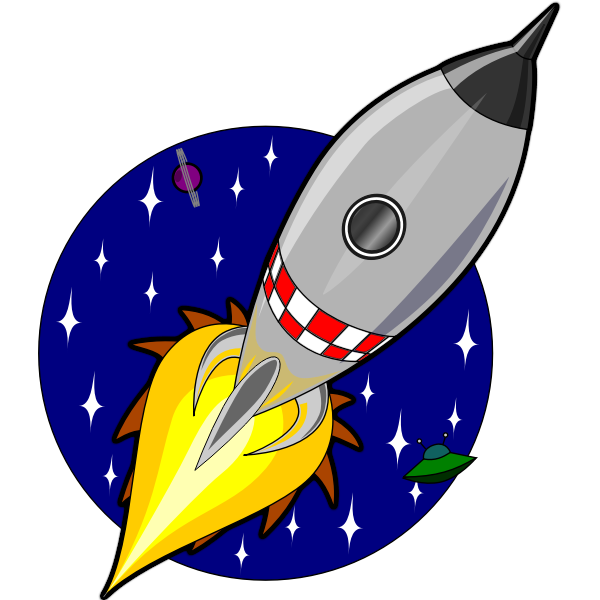 Cartoon rocket vector drawing
