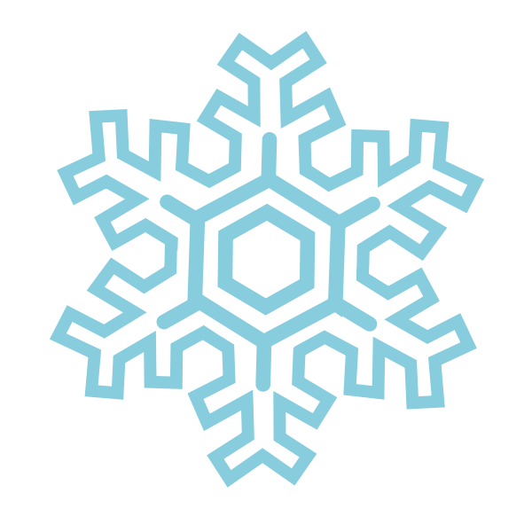 Vector clip art of blue straight shaped snowflake