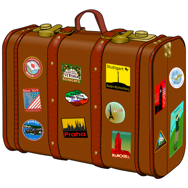 Suitcase with travel stickers vector drawing