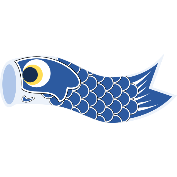 Vector clip art of dark blue Koinobori