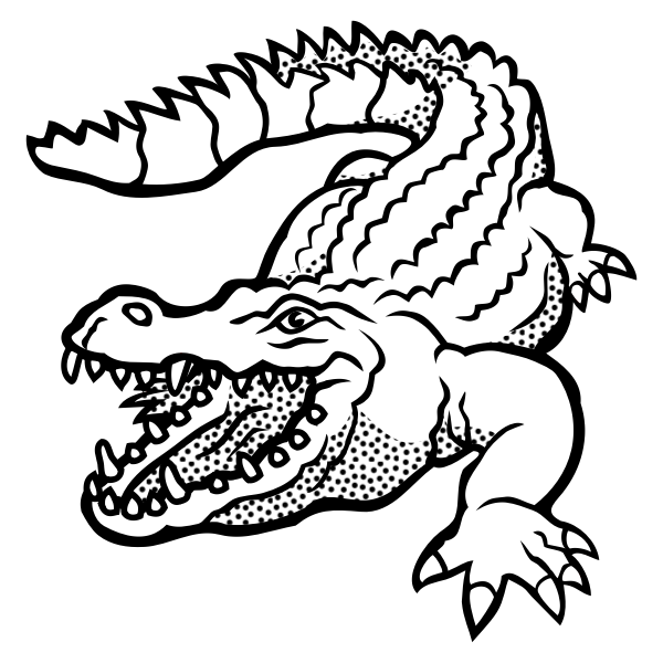 Vector drawing of spotty crocodile line art