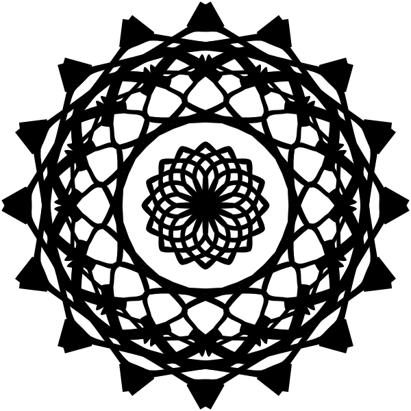 Black graphic symbol like Mandala