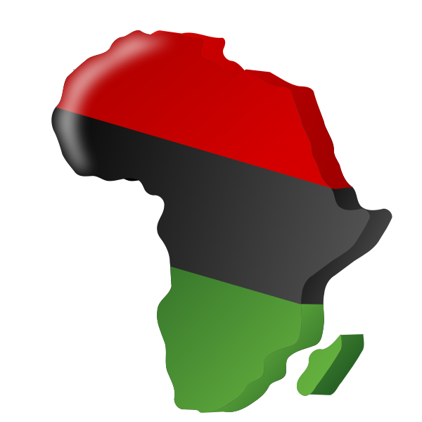 Gambian flag in shape of Africa vector clip art