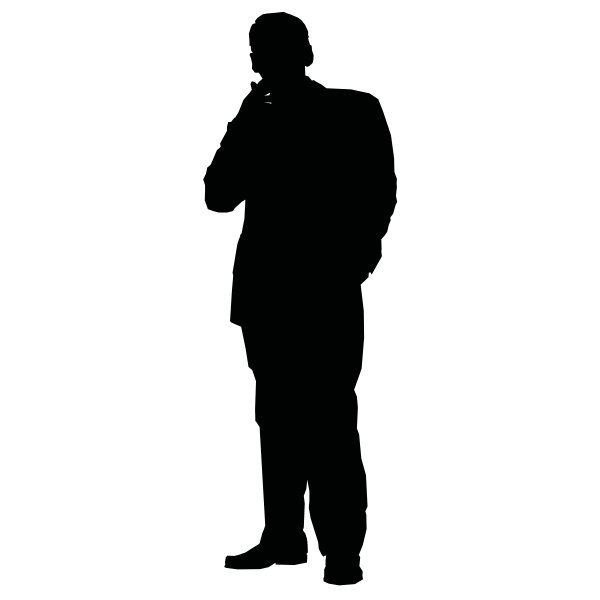 Man smoking a cigarette silhouette vector clip art
