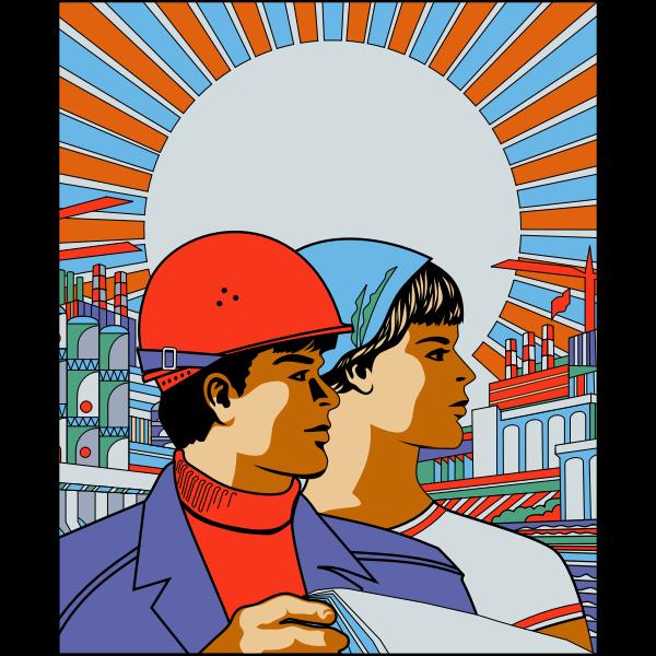 Soviet poster vector drawing