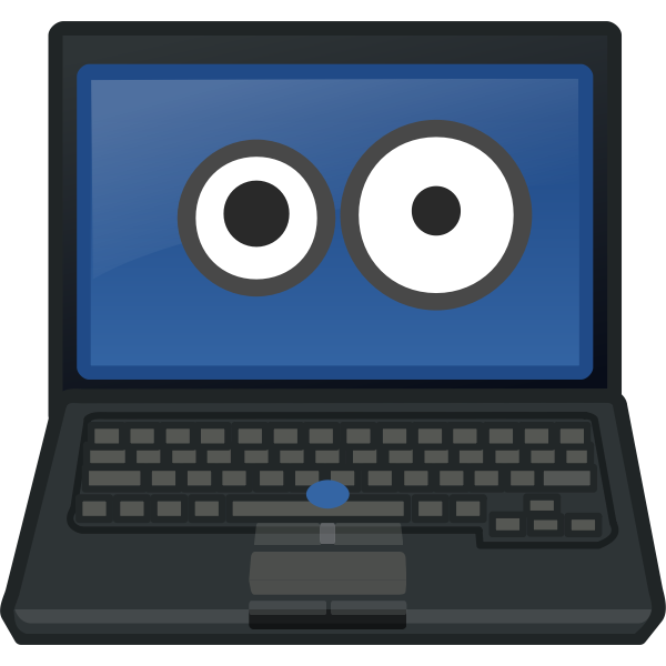 Laptop eye contact vector image