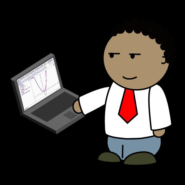 Teacher using laptop