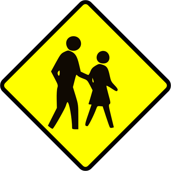 Adults crossing caution sign vector image