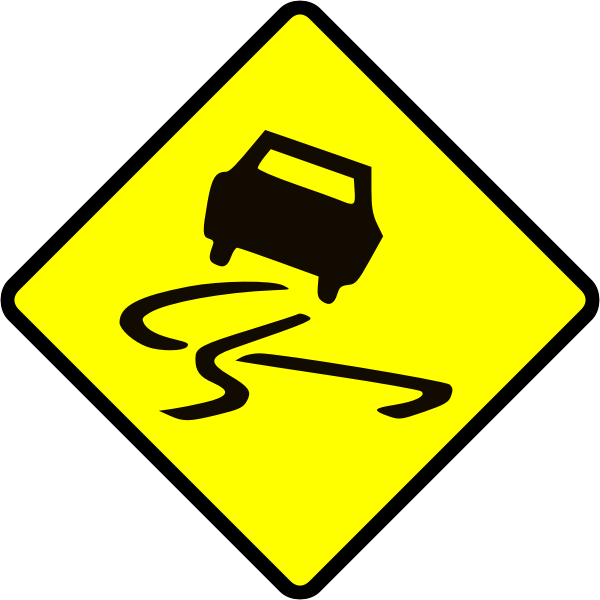 Slippery when wet caution sign vector image