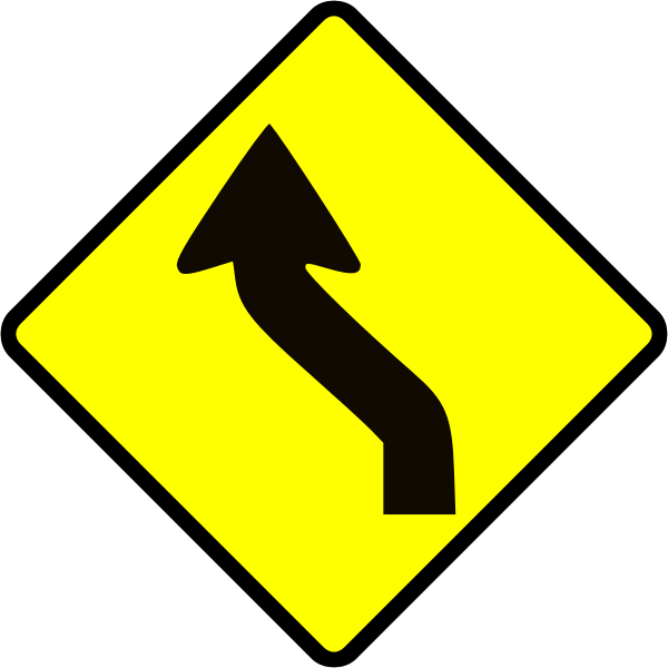 Curve in road caution sign vector image