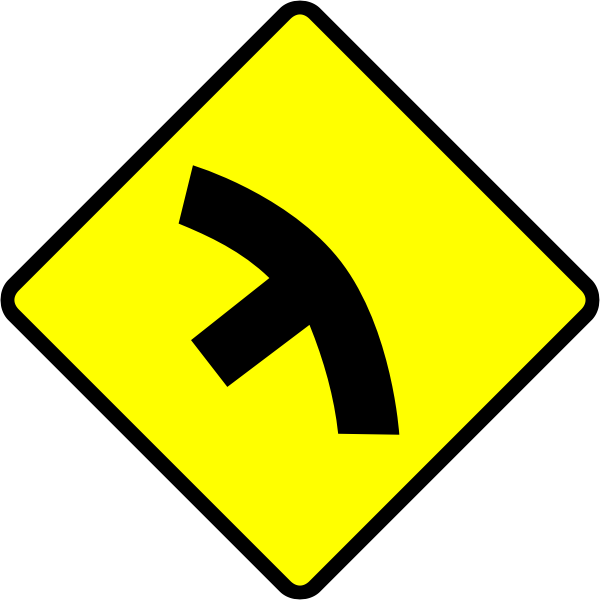 T-junction in curve caution sign vector image