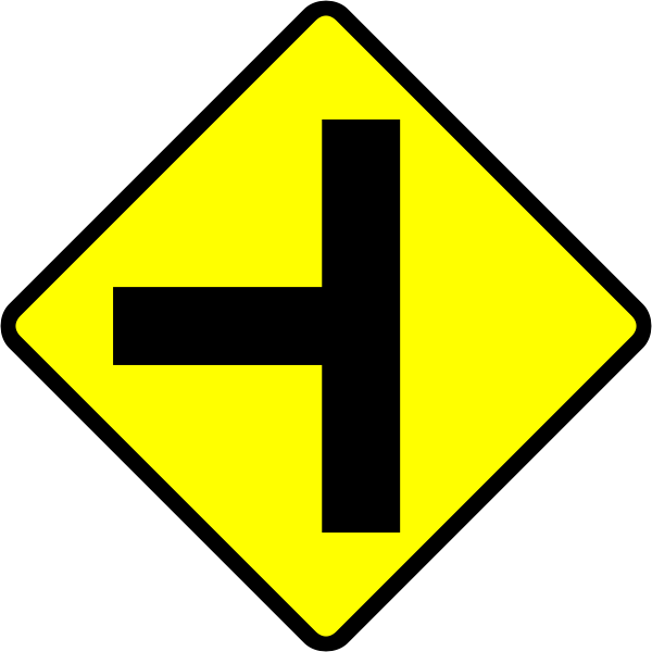 T-junction caution sign vector image