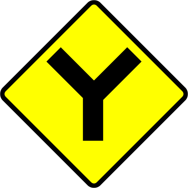 Y-road caution sign vector illustration