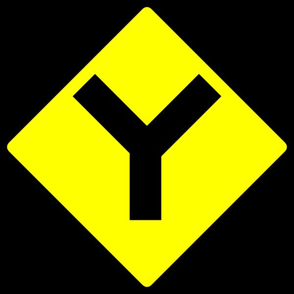 Y-road caution sign vector image