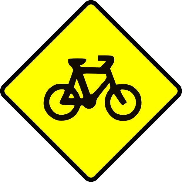 Bicycle caution sign vector image