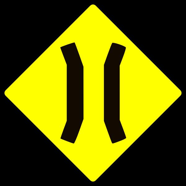Bridge ahead caution sign vector image