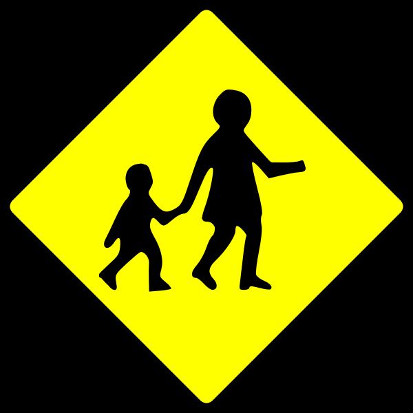 Children crossing caution sign vector image